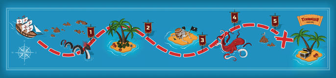 Pirate Game In Cartoon Style. Royalty Free Stock Photo