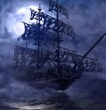 Pirate Ghost Ship Flying Dutchman. Sailing pirate ghost ship, Flying Dutchman, on the high seas in a moonlit night, 3d render painting royalty free illustration