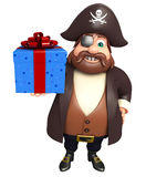 Pirate with Giftbox. 3d rendered illustration of Pirate with Giftbox Stock Photo