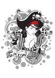 Pirate girl. Illustration, black grey red colour scheme Stock Photos