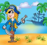 Pirate girl on beach 3 Royalty Free Stock Image