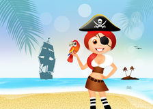 Pirate girl on the beach Royalty Free Stock Photography