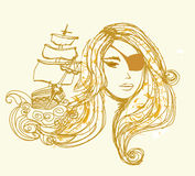 Pirate Girl beautiful abstract portrait Stock Photos