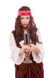 Pirate girl with a candle in hand Stock Photography