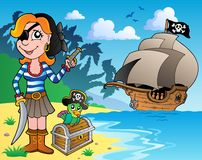Pirate girl on coast 1. Vector illustration Royalty Free Stock Photography