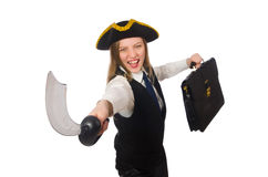Pirate girl holding bag and sword isolated on. The pirate girl holding bag and sword isolated on white Royalty Free Stock Photos