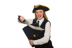 Pirate girl holding bag and sword isolated on Royalty Free Stock Images