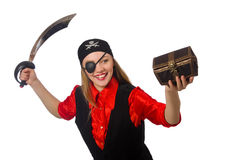 Pirate girl holding chest box and sword isolated. The pirate girl holding chest box and sword isolated on white Stock Photos