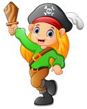 Pirate girl holding wooden sword Royalty Free Stock Photography