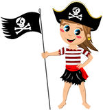 Pirate Girl Jolly Roger Flag Isolated. Illustration featuring a cartoon pirate girl barefoot with a jolly roger flag isolated on white background. Eps file is vector illustration