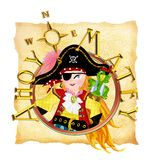 Pirate girl and map. Pirate girl wearing a blindfold with a pirate costume, holding a golden sward with her parrot Stock Images