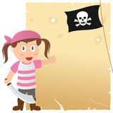 Pirate Girl and Old Parchment. A cartoon pirate girl with a jolly roger flag and a blank old parchment scroll. Eps file available Royalty Free Stock Photo