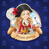 Pirate girl with parrot. Banner for Pirate party Royalty Free Stock Photo