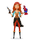 Pirate girl with parrot and powder gun - vector illustration. Stock Photo
