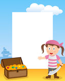 Pirate Girl Photo Frame. Photo frame, post card or page for your scrapbook. Subject: a cartoon pirate girl with a treasure box. Eps file available Royalty Free Stock Images