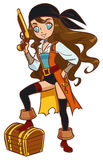 Pirate girl with powder gun and treasure chest royalty free illustration