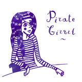 Pirate girl in sailor's striped vest watercolor vector illustration Royalty Free Stock Photo