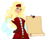 Pirate girl with scroll Royalty Free Stock Photos
