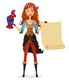 Pirate girl with scroll and a parrot. Vector illustration Stock Images