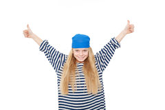 Pirate girl showing thumbs up. Stock Photography