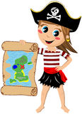 Pirate Girl Showing Treasure Map Stock Photo