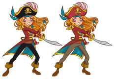 Pirate girl swaying the sword. Cartoon pirate girl swaying the sword, 2 color variants, anime style Royalty Free Stock Photography