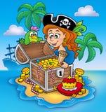 Pirate girl and treasure Royalty Free Stock Photos