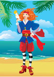Pirate girl on  tropical beach. Pirate girl with parrot on beautiful tropical beach Stock Image