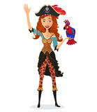 Pirate girl waving with a parrot isolated on a white background. Vector. Stock Images