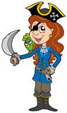 Pirate Girl With Parrot And Sabre Stock Photo