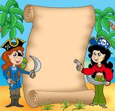 Pirate girls with scroll 1 Stock Photos