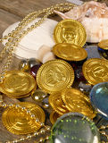 Pirate Gold. Collection of nautical elements and gold coins and additional items Stock Photo