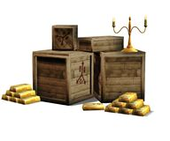 Pirate gold bars. 3D render of pirate gold bars with wooden boxes and candles Royalty Free Stock Photo