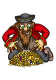 Pirate with gold treasure Stock Photo