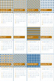 Pirate gold and venice blue colored geometric patterns calendar 2016 Royalty Free Stock Photos