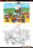 Pirate group coloring page Royalty Free Stock Images