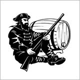 Pirate with a gun and barrel. Vector illustration Stock Photos