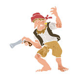 Pirate with Gun Cartoon Royalty Free Stock Photography
