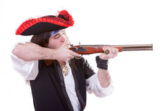 Pirate with a gun in hands Royalty Free Stock Image