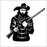 Pirate with a gun. Vector illustration isolated on white Stock Image
