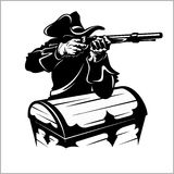 Pirate with a gun. Vector illustration isolated on white Royalty Free Stock Photo