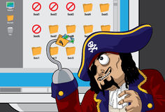 Pirate Hacking. Data in a computer Royalty Free Stock Image