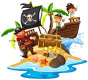 Pirate and Happy Kids at Island. Illustration Stock Photo