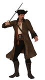 Pirate in hat and long coat with sword. Asian pirate figure with goatee wearing hat vest a long coat brandishing sword Stock Photos