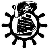 Pirate hat, ships wheel and sailing ship Royalty Free Stock Photography