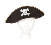 Pirate hat with Skull and Crossbones. Black pirate hat with skull and crossbones resting on a head for proper perspective. Isolated with a clipping path Royalty Free Stock Images