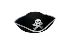 Pirate hat with skull isolated. On white stock photos