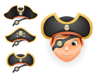 Pirate hats set realistic head  template mockup vector illustration Stock Images