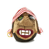 Pirate head made from coconut on a white Royalty Free Stock Images