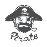 Pirate head with pirate hat and pipe Stock Photography